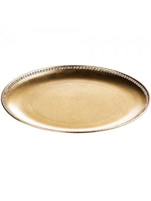 Set Of 4 33cm Coupe Diamante Edge Radiance Charger Plate Gold