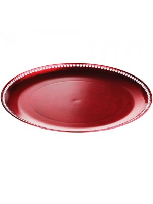 Set Of 6 33cm Coupe Diamante Edge Radiance Charger Plate Red