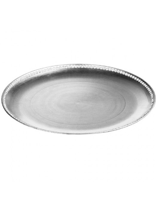33cm Diameter Coupe Diamante Edge Radiance Charger Plate Silver