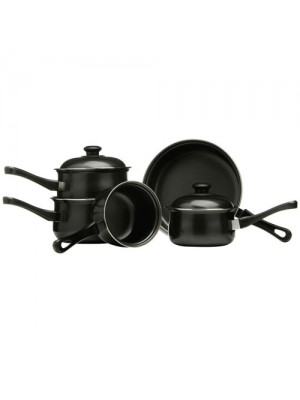 Black 5pc Non-Stick Saucepan Set Carbon Steel Bakelite Handles