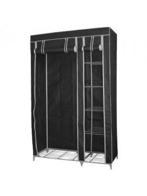 Double Canvas Wardrobe Storage with 5 Shelves - Black
