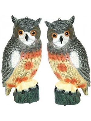 Set Of 2 Garden Bird Repeller Scarer Decoy Owls - 17 Inch