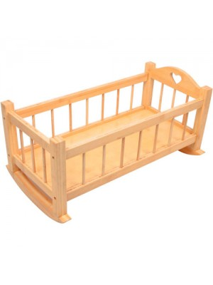 Large Varnished Wooden Dolls Rocking Crib Bed Cradle Cot