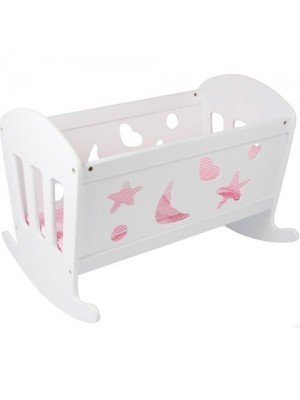 White Varnished Dolls Rocking Crib Cradle Bed Toy