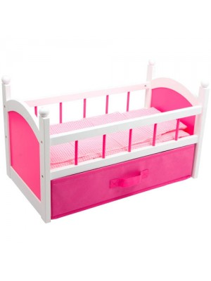 Dolls Varnished Bed Cot Crib With Stoage Draw & Bedding!