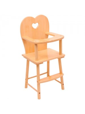 Clear Varnished Wooden Dolls Feeding High Chair Heart Design