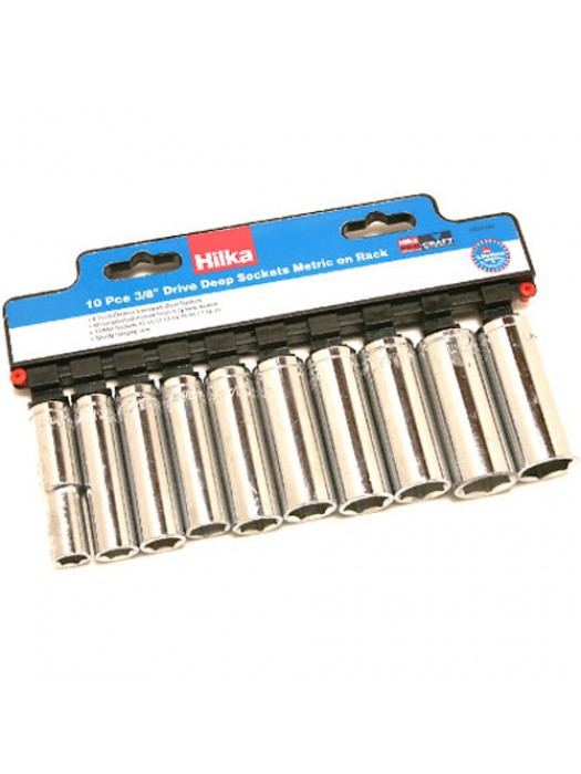 10 Pc 3/8inch Drive Square Deep Metric Socket Set - 10 To 19mm