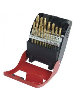 19pc HSS Titanium Nitride Drill Bit Set With Metal Case - 1-10mm