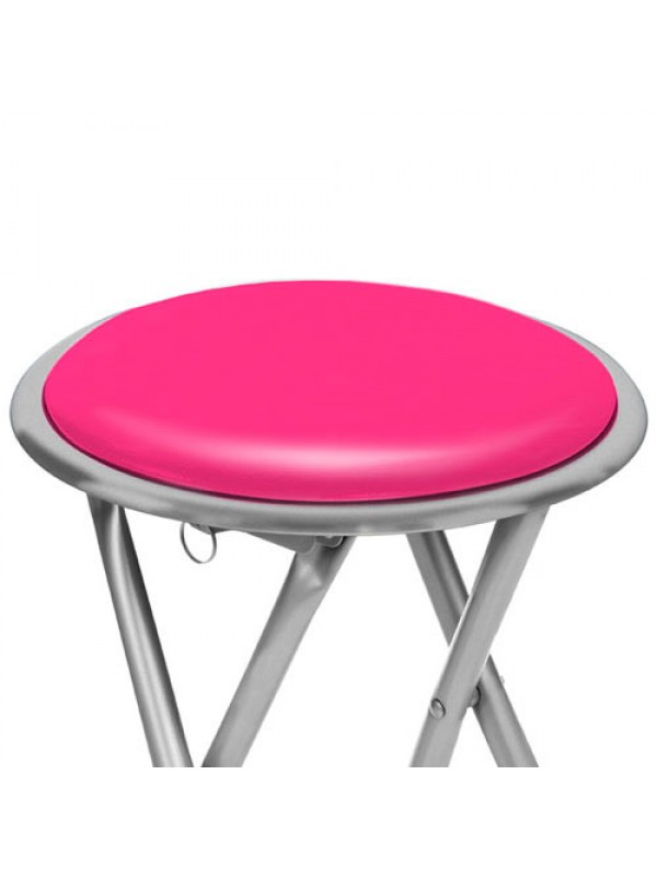 round silver frame folding padded stool seat chair hot pink