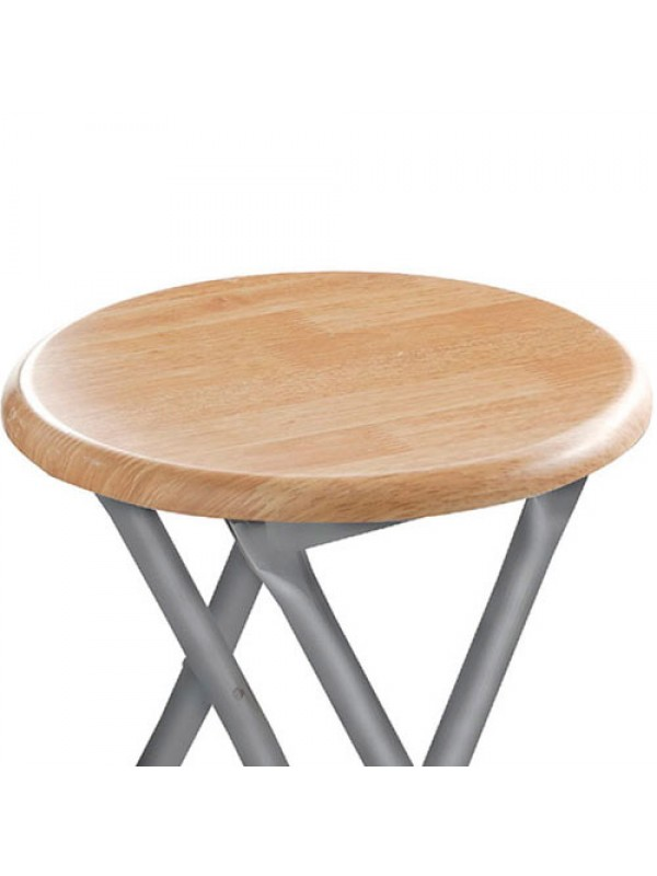 Round Silver Frame Folding Stool Seat Chair Wood Veneer