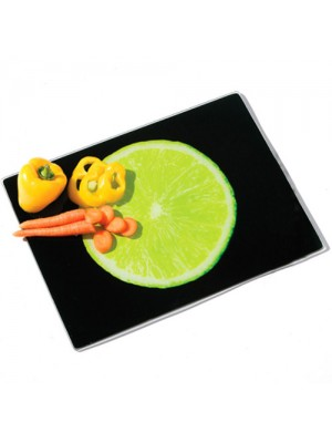 Lime Design Black Glass Kitchen Vegetable Fruit Chopping Board