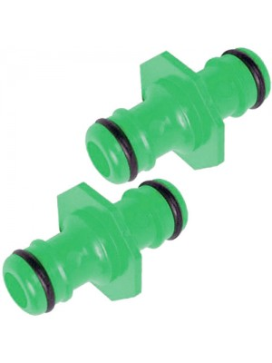 2 Way Garden Hose Connector - 1/2Inch Male To Male - 2 Pack