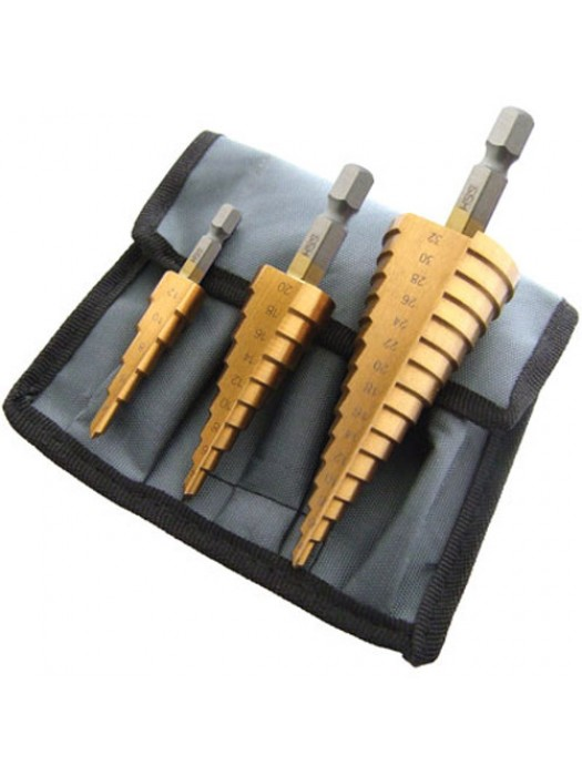 3pc Large Cone High Speed Steel Step Hole Cutting Drill Bit Set