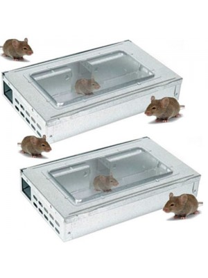 2 Metal Multi Mouse Traps - Live Catch Up To 20 Mice