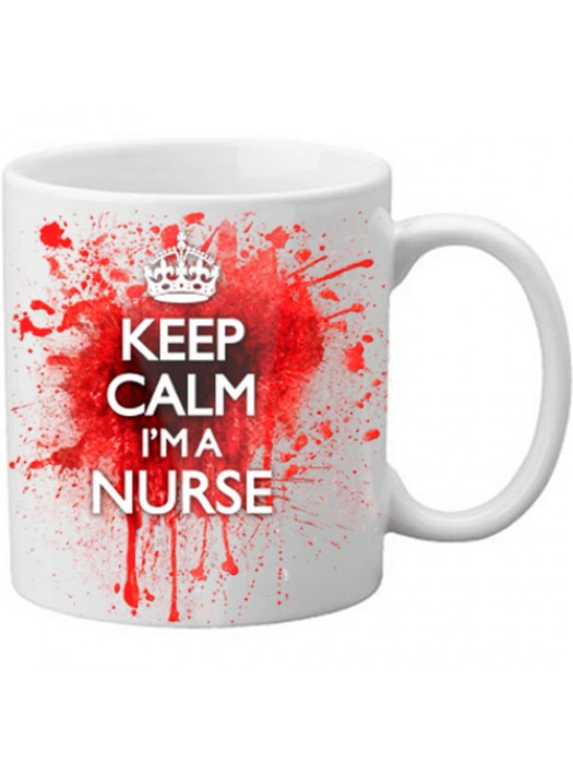 Keep Calm I'm A Nurse Novelty Blood Spatter Bloody Mug - 11oz