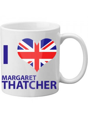 I Love Heart Margaret Thatcher UK Union Jack Blue Mug Cup