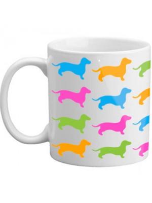 Multi Colour Vibrant Sausasge Dog Gift Present Dog Lovers Mug