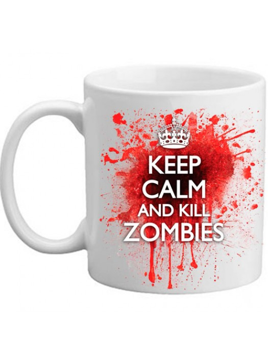 Keep Calm and Kill Zombies Novelty Blood Spatter Bloddy Mug
