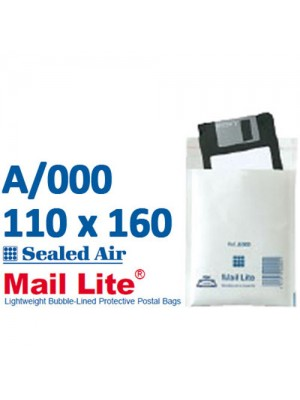 Mail Lite 110 x 160 White Bubble Lined Envelope A000 -Box of 100