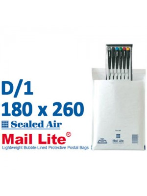Mail Lite 180 x 260 White Bubble Lined Envelope D1 - Box of 100