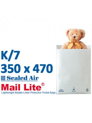 Mail Lite 350 x 470 White Bubble Lined Envelope K7 - Box of 50