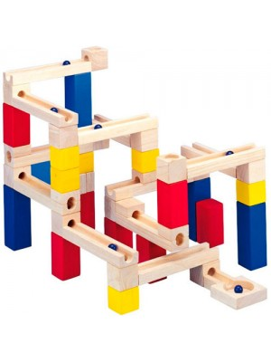 Wooden Marble Run Stackable Tower Building Blocks Toy