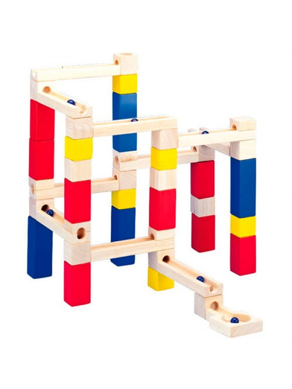 Marble Toys Blocks : Wooden marble run stackable tower building blocks toy