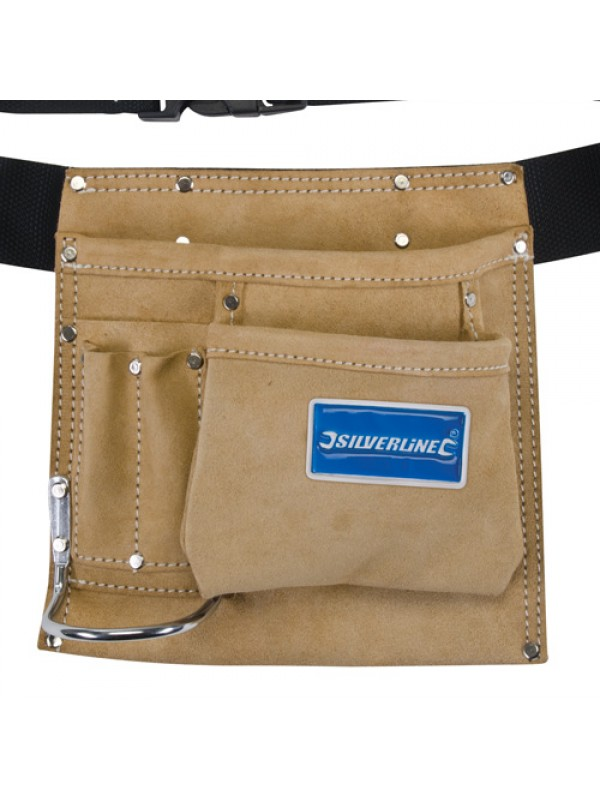 Silverline Nail/Tool Tough Suede Pouch - 5 Pockets + Hammer Loop