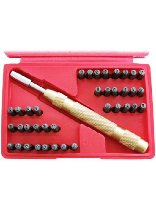 38 Pc Number & Letter Stamping Set + Automatic Punch Tool