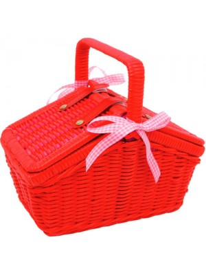 18 Piece Childrens Play Wicker Picnic Basket Toy Tea Set - Red