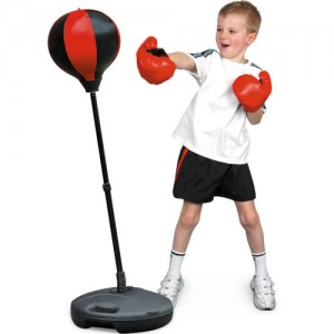 Kids Boxing Punch Ball Training Adjustable Height Bag & Gloves!