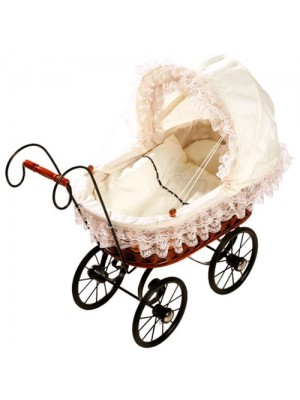 Childrens Antique Wicker White Lace Dolls Pram Pushchair