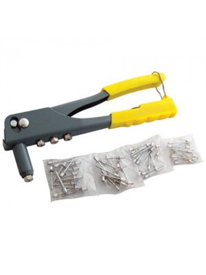 Hand Rivet Gun With 60 Rivets - 4 Interchangeable Nozzle Heads