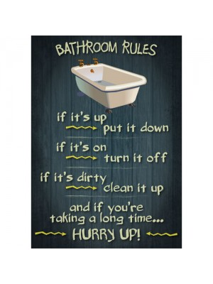Bathroom Rules - Vintage Design Funny Door Sign