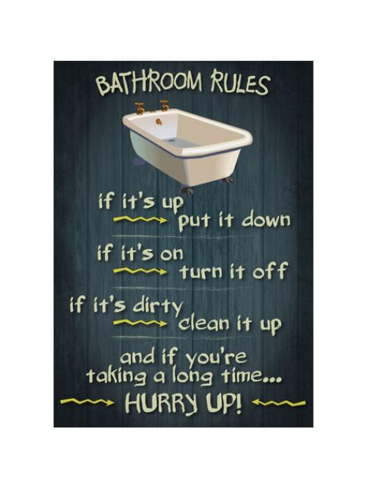 Bathroom Rules - Vintage Design Funny Door Sign