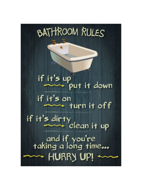 Bathroom rules vintage design funny door sign for Rules of good bathroom design