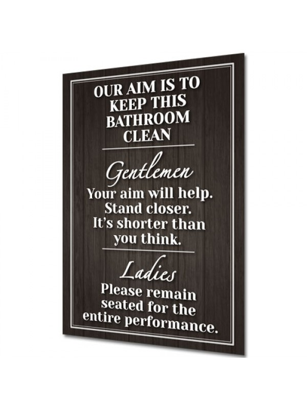 Bathroom Clean - Vintage Shabby Chic Funny Door Plaque Sign