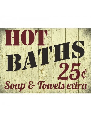 Shabby Chic Hot Baths Bathroom Retro Wall Sign