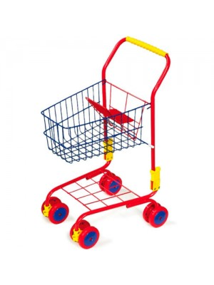 Childrens Red & Blue Metal Supermarket Push Trolley Basket