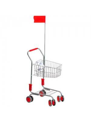 Childrens Metal Silver Supermarket Push Trolley Basket + Flag