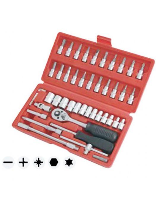46 Pieces Steel 1/4 Inch Drive Sockets & Bit Set  + Storage Case