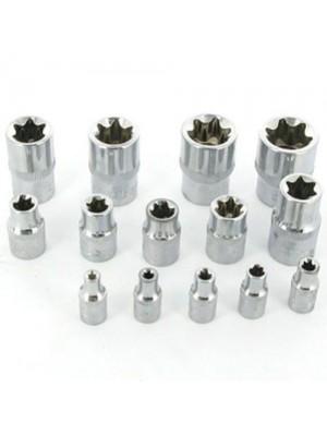 E4-E24 1/4, 1/2 3/8 Inch Square Drive Torx Socket Set - Female