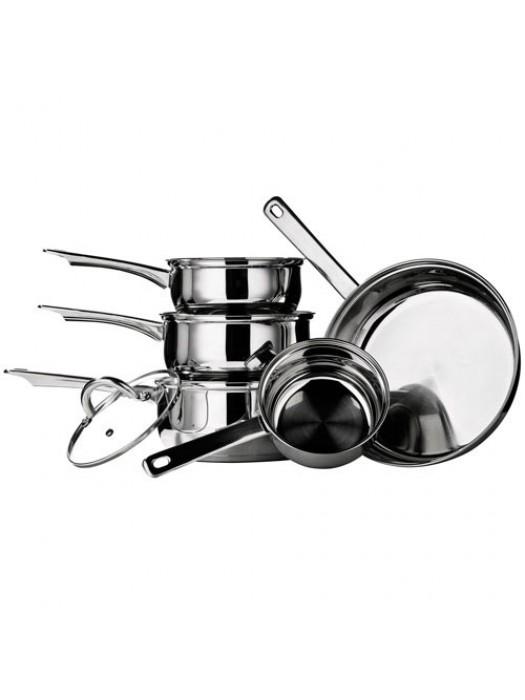 5 Piece Stainless Steel Mirrored Saucepan Cooking Pan Set
