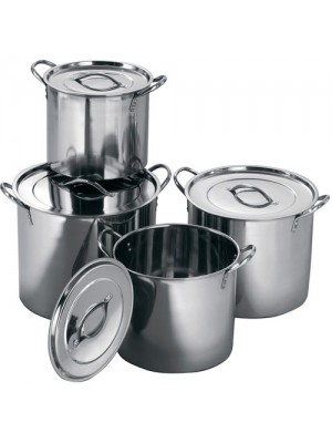 4 Pc Stainless Steel Catering Cooking Stock Pot Pans With Lids