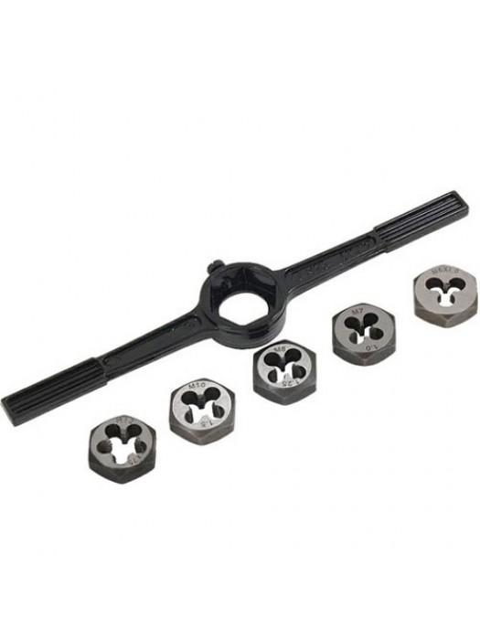 6 Pc Metric Die Dressing Threading Holder Set - M6 To M12