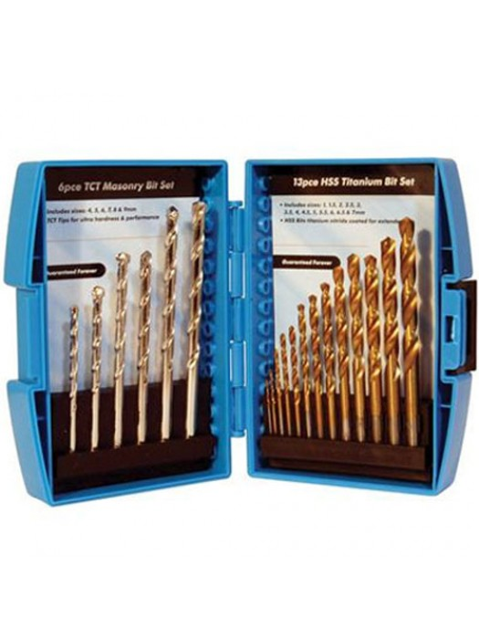 Silverline HSS Titanium & TCT Masonry Drill Bit Set - 19 Pieces