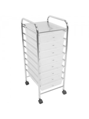 8 Drawer Chrome Finish Office, Salon, Bathroom Storage Trolley