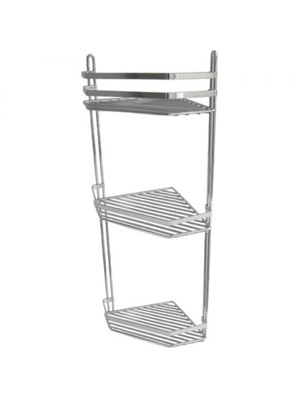 Triple Tier Chrome Corner Shower Caddy Shelf Rail Basket