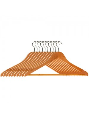 Set Of 10 High Quality Wooden Suit, Trouser, Clothes Hangers