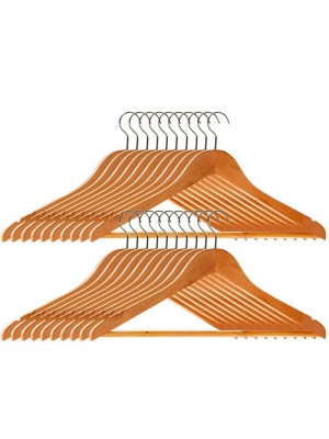 Set Of 20 High Quality Wooden Suit, Trouser, Clothes Hangers